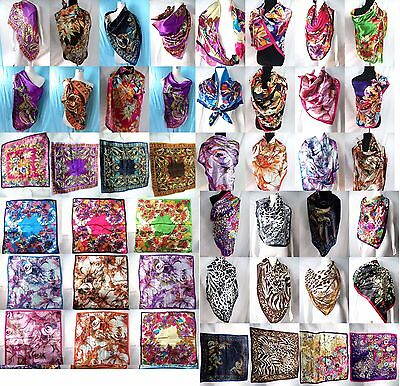 US SELLER-$2.85/each, lot of 20 Wholesale Bulk  Satin Fashion Square Scarf Gift