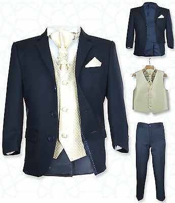 SIRRI Page Boys Formal Navy Gold Wedding Suit 5PC Boys Navy Suit