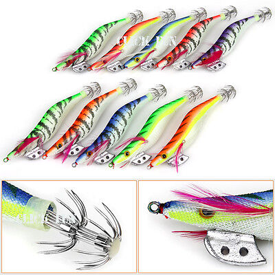 10pcs 3.0 Assorted Body Squid Jigs Jig Fishing Tackle lures Bait Hooks Size #3