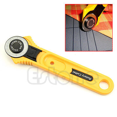 Yellow Rotary Cutter 28mm Cut Circular Blade Patchwork Fabric Leather Craft