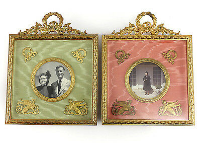 Pair of Empire Bronze Photo frames w/ easel Back, Bronze Wreath Accents Sphinx