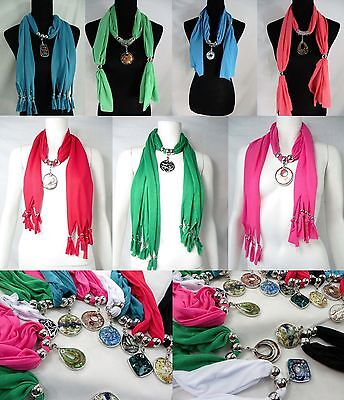 US SELLER-lot of 10 handcrafted glass pendant charm scarf necklace