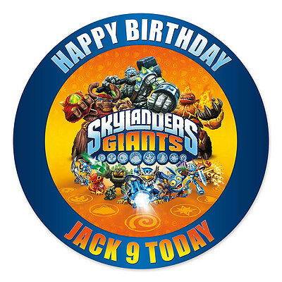 Skylanders Giants Personalised Edible Icing Image Party Cake Topper Round