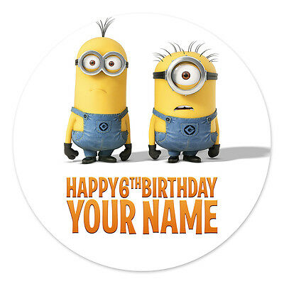 Despicable Me Minions Personalised Edible Icing Image Party Cake Topper