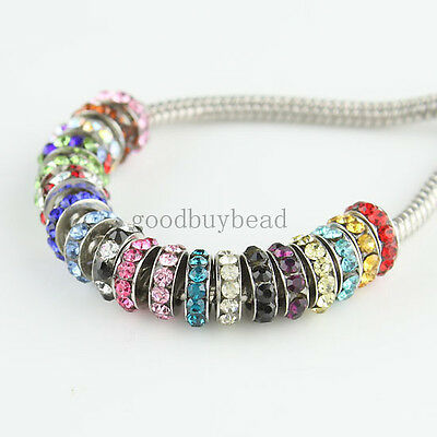 Crystal Lots Color Rhinestone Spacer European Big Hole Charms Beads Fit Bracelet