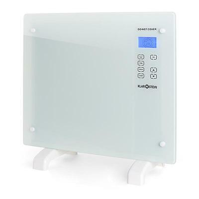 Warm Convection Heater 1000 W Heating Wall Mountable White Glass Home Child Lock
