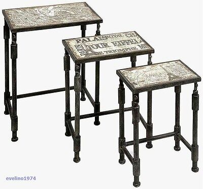 IMAX 97249-3 Knoxlin Nesting Tables,Set of 3, Iron and Wood, French Inspired,New