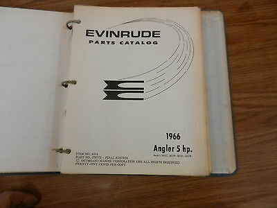 Angler 5 HP 1966 OMC Johnson Evinrude Outboard motor Parts manual book