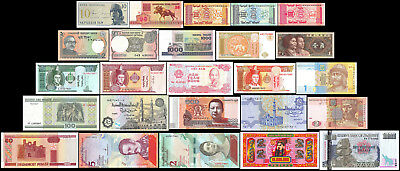 25 Different World MIX Foreign Banknotes,Currency, Uncirculated, Crisp Condition
