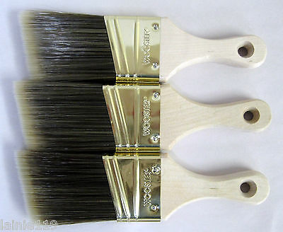 "Lot of 3 Wooster PRO SHORT HANDLE Nylon/Polyester Angle Paint Brushes, 2"" Each"