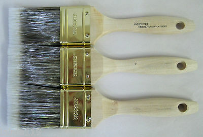 """Lot of 3 Wooster PRO CLASSIC FLAT Nylon Polyester Straight Paint Brushes, 2"""" Ea."""