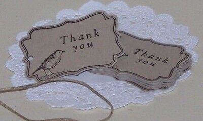 "Vintage hand stamped,Bird theme ""Thank you""gift tags, Natural,  Pk25,Pk50,100."