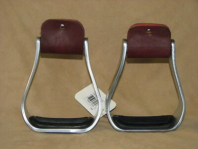 "Western Horse Saddle Aluminum Stirrup with Rubber Grip Tread, 5"" Wide Inside"
