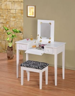 Contemporary Vanity Set with Flip Mirror Top and Zebra Cushion Stool for Teens