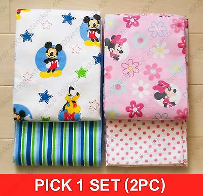 2pc PICK 1 set Disney Baby Mickey or Minnie Receiving Flannel Blankets
