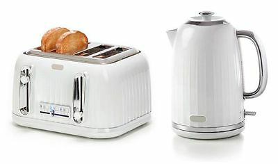 Modern White Silver Cordless 1.7L Electric Kettle + Matching 4 Slice Toaster