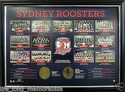 Sydney Roosters The Historical Series Ltd Ed Coa Official Nrl Product Framed