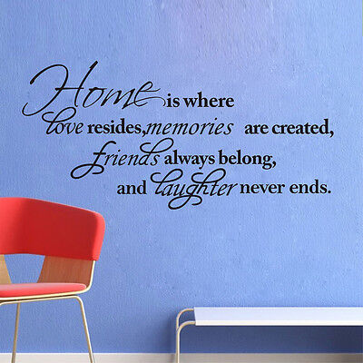 HOME WALL QUOTES Decal Vinyl Art DIY Removable Mural Room Sticker Decor  Bedroom