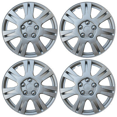 "4 pc Hub Cap ABS Silver 15"" Inch Rim Wheel Skin Cover Hubcaps Set Caps Covers"