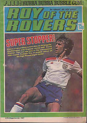 ROY OF THE ROVERS 28-02-1981 Graham Rix ENGLAND (Free Postage)