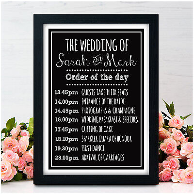 PERSONALISED WEDDING ORDER OF THE DAY SIGN Chalkboard Guest Information Welcome