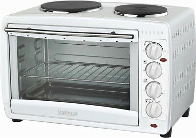 Igenix IG7145 Table Top 45 Litre Mini Oven with Grill & Double Hob in White