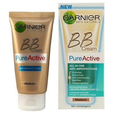 GARNIER Pure Active BB Cream 5 in 1 MOISTURISER - MEDIUM