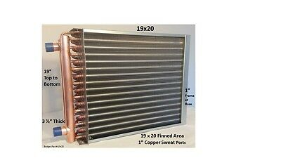 """19x20 Water to Air Heat Exchanger 1"""" Copper Ports With Install Kit"""