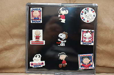 Charlie Brown, Snoopy, Peanuts, Flying Ace 9 Pc. Pvc Pin Set In Case, All New