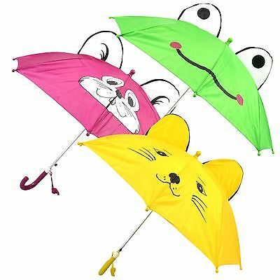 "New 27"" Kids Childrens novelty Animal Dome Umbrella Rain Brolly With Whistle"