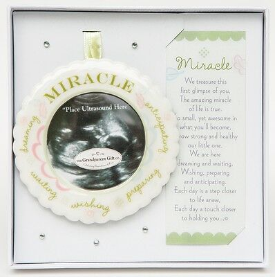 Miracle Ultrasound Sonogram Ceramic Photo Frame Ornament, Birth Announcement, 3""