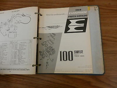 1968 100 HP Johnson Evinrude outboard motor parts list manual book