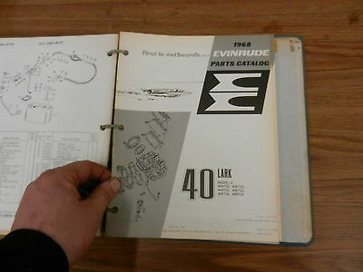 1968 40 Lark  HP Johnson Evinrude outboard motor parts list manual book