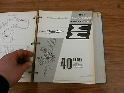 1968 HP 40 Big twin Johnson Evinrude outboard motor parts list manual book