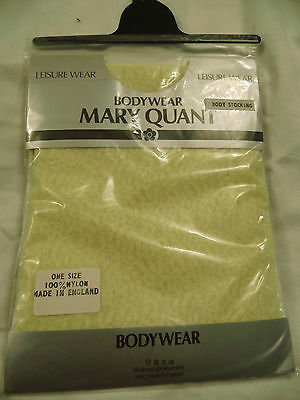 Lace body stocking bodywear Mary Quant lingerie vintage pale yellow new old