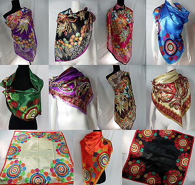 US SELLER-lot of 10 floral bohemian large silky satin square scarf wrap 39""