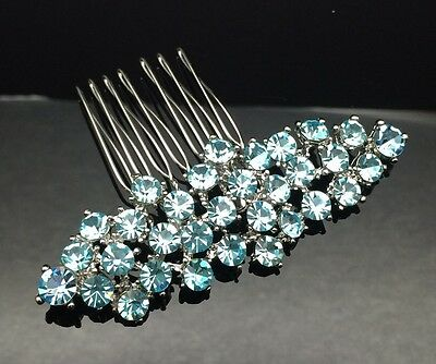 Light Blue Diamante Formal Bridal Wedding Large Crystal Hair Comb Clip 7.6cm