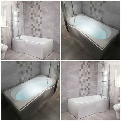 P Shaped Shower Bath Bathroom Left Right Hand 1675 Hinged Shower Screen & Panel