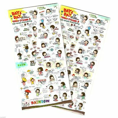 Pony Brown Day and Day Sticker x2 Lot Diary Book Scrapbooking Cute Decor Deco