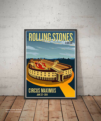 The Rolling Stones 14 On Fire Roma Circus Maximus 22 June 2014 Poster Fine Art