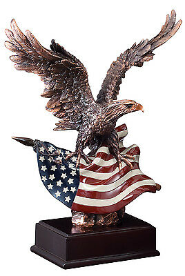 American Eagle Flag Resin Bronze Eagle Trophy Award  Free Engraving