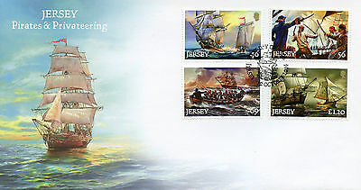 Jersey 2014 FDC Pirates & Privateering 4v Set Cover Ships Boats Nautical