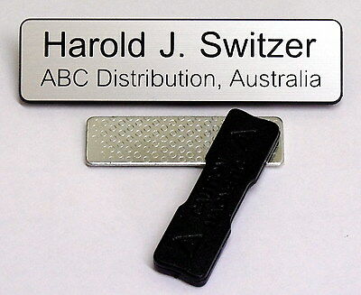Engraved 75x19mm Name Tag Badge - Magnet fastener.