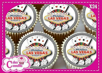 24 X HAPPY BIRTHDAY LAS VEGAS RED EDIBLE CUPCAKE TOPPERS PRINTED ON ICING CC7288