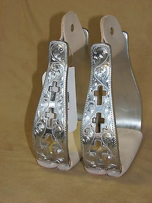 Cross Cut Out Aluminum Polished Engraved Western Saddle Show Stirrups CROSS