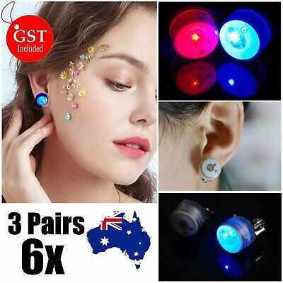 6X LED Earrings 3 Pairs Clip On Kids Party Light Flashing Glow in the dark Fashi