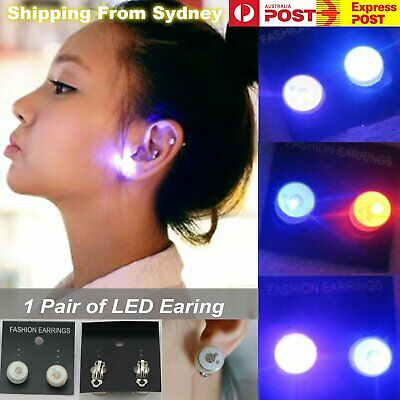 2X LED Earrings 1pair Clip On Kids Fashion Party Light Flashing Glow in the dark