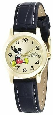 Disney Women's Mickey Mouse Gold-Tone Black Band Watch MCK615