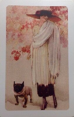 ART DECO Swap Playing Card Lady With Pug, Gorgeous Ladies Mint PRISTINE NEW CARD