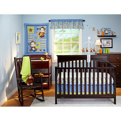 BORN TO ROCK Nojo 11Pc Monkey Baby Cot Bedding with Bumper & Mobile  BRAND NEW